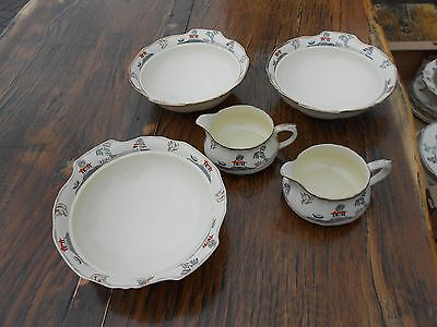 3 Vintage Alfred Meakin Marigold Astoria Shape Willowette Dishes and 2 Jugs