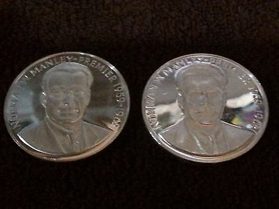 """1971 Jamaica 5 Dollar Silver Proof-like coin - """"Norman W. Manley"""" - Lot of 2"""