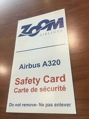 Zoom Airlines Airbus A320 Canada Safety Card