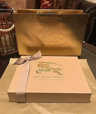 100% Authentic Burberry Gift Box & Gold Shopping Bag Brand New