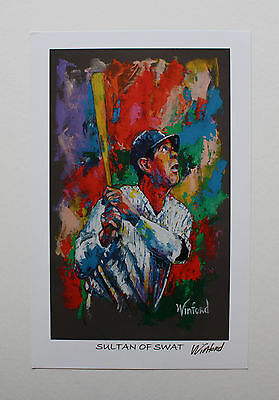 "Babe Ruth ""sultan Of Swat"" Fine-Art Print Signed By Artist To Stars, Winford"