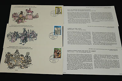 Antigua Great Art Stamps Of The World Series First Day Covers X 3 Lim Edition