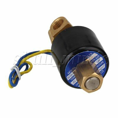 "DC 12V 1/4"" N/O 2 Way Brass Solenoid Valve NBR Air Water Oil Electric Pneumatic"