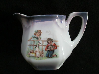 Antique Children Playing With Rabbits 3 3/8 Inch Creamer Bavaria
