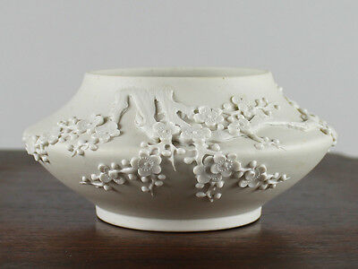Chinese Bisque Biscuit Porcelain Water Coupe, Relief Molded & Carved Prunus