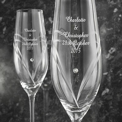 Personalised Mr and Mrs Pair of Flutes Toasting Champagne Flutes Glasses Wedding