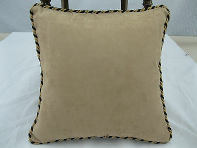 Ultra Suede Pillow Saddle Tan Feather/Down Insert 17 x 17, Designer Fabric