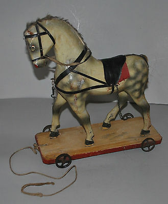 """Antique Large 14"""" Tall Wood Pull Horse On Wheel Toy Rare Nice"""