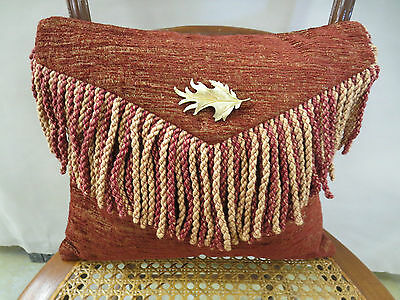 Kravet Fabric Chenille Upholstery Envelope Pillow Brooch Feather 14 In x 12 In