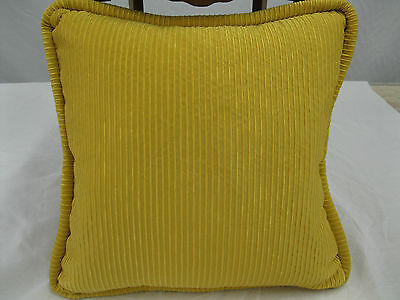 Designer Silk Fabric Pillow  Feather/Down 18 x 18 Canary Yellow Textural Fabric