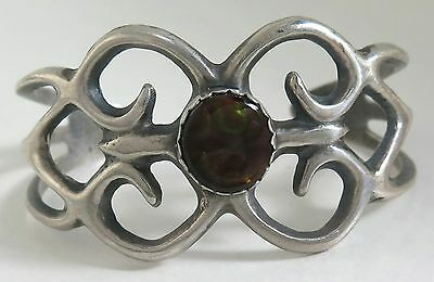 Beautiful Cast Sterling Silver & RARE Fire Agate Southwestern Cuff Bracelet