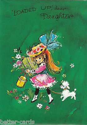 Happy Birthday Daughter Vintage 1970's Greeting Card ~  Cute Shopping Girl