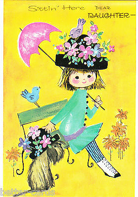 Happy Birthday Daughter Vintage 1970's Greeting Card ~  Cute Girl & Puppy Dog