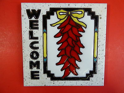 "Ceramic Tile 6""x6"" Welcome chile sign Chile Ristras Handpainted for the home H55"