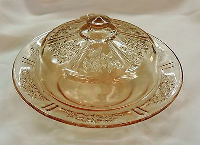 Pink Cream Sharon Butter Dish by Federal Glass ca 1935