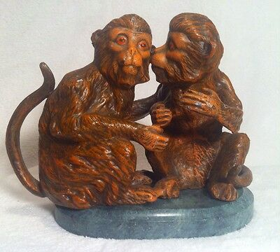 Rare Petites Choses Monkey Pair Couple. Solid Heavy Iron.6.5 Lbs On Marble Base