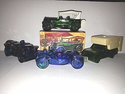 Lot Of 4 Vintage 1970's Avon Classic Car Glass Aftershave Collectible Bottles