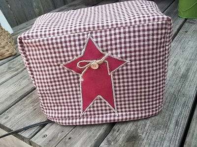 Toaster Cover Burgundy Cream Rustic Star Americana Fabric Quilted 4 Slice