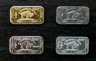5 Different 1 Gram 999 Fine Bullion Bars BRASS COPPER IRON NICKEL ZINC
