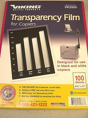 Viking VK 2500 Transparency Film for B&W Copiers 100+ Sheets