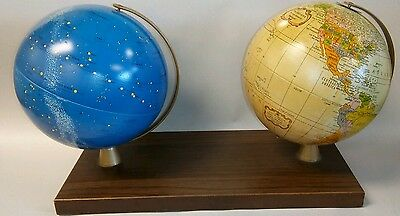 """2 Vintage Replogle 6"""" Metal Globes ~ Earth & Celestial Globes mounted to a base"""