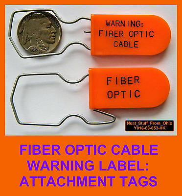 Fiber Optic Warning Labels, Permanent, Bright-Orange Warning Tags, 100 Tags