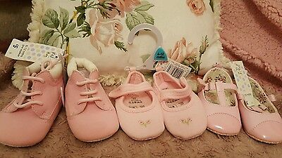 3 pairs pink baby shoes job lot 6 - 12 months
