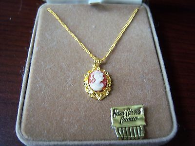Hand Carved Cameo Pendant Gold Tone in Gift Box