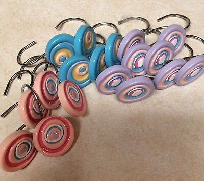 """Set/18 Swirled Colors-Shower Curtain Hooks-1 1/2"""" Wide-SHIPS FREE"""
