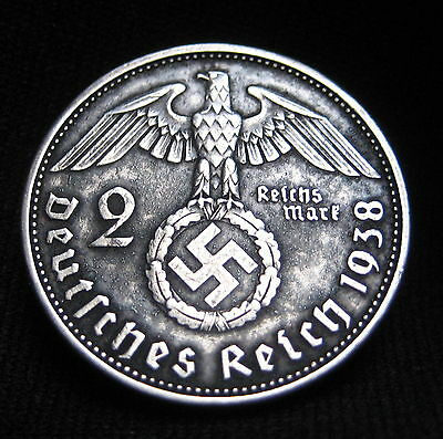 Nazi Silver Coin Germany 3rd Reich 1938 A 2 Reichsmark KM#93 Swastika, Hitler 5