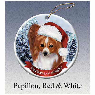 Papillon Red Howliday Porcelain China Dog Christmas Ornament