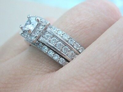 925 Sterling Silver Square CZ Engagement & Wedding & Eternity Band Set Sz 9-10US