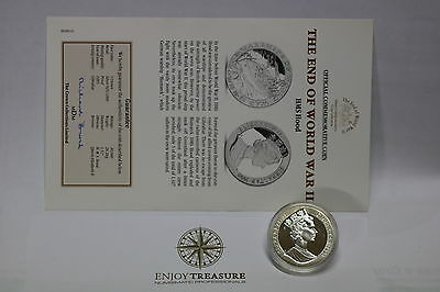 Gibraltar 1 Crown 1993 Silver Proof Hms Hood With Coa A60 Cg24