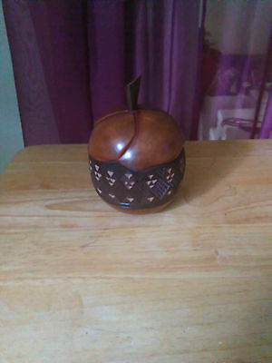 DR Congo New Hand Carved Wood Collectible African Apple Shaped Vase with cover