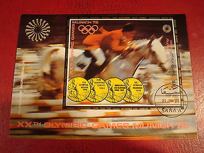 Yemen - 1972 Olympic Horse Jumping - Minisheet - Unmounted Used - Ex. Condition