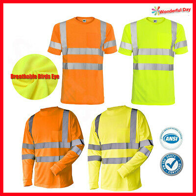 Hi Vis T-Shirt ANSI Class 3 Reflective Tape Safety Short Sleeve HIGH VISIBILITY