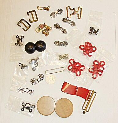 Antique Vintage Collection Lot 17 Hook & Eyes 3 Deco Belt Closures & Mixed Items