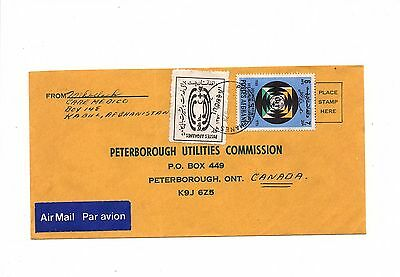 AFGHANISTAN ASIA Postally used cover to Canada RED CROSS LABEL  LOT (AFGH  023)