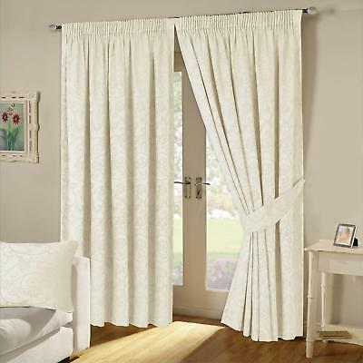 Turin Jacquard Woven Fully Lined Pencil Pleat Tape Top Curtains Cream