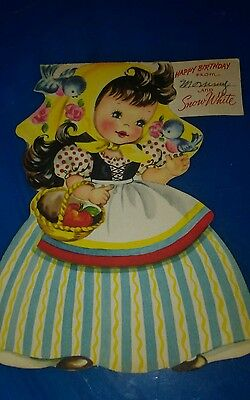 Vintage Girl's Birthday card American Greeting ©1949 Snow White Good Condition
