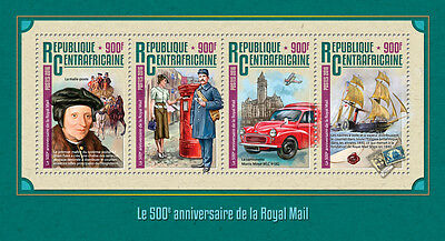 Central African Rep 2016 MNH Royal Mail 500th 4v M/S Ships Pillar Boxes Stamps
