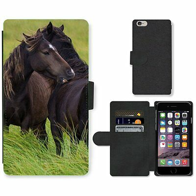 Phone Card Slot PU Leather Wallet Case For Apple iPhone Pair of black horses aff