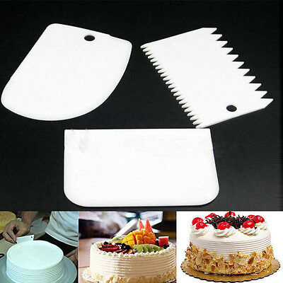 3 Plastic Decorating Cake Scrapers Icing Fondant Baking Plain Smooth Jagged Edge