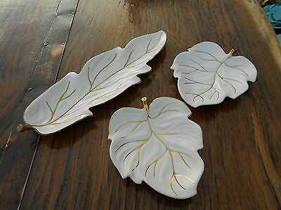 3 Pieces Vintage White/Gold Carlton Ware Leaf Dishes
