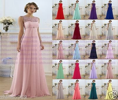 Formal Long Lace Chiffon Wedding Dress Evening Party Ball Gown Bridesmaid Dress