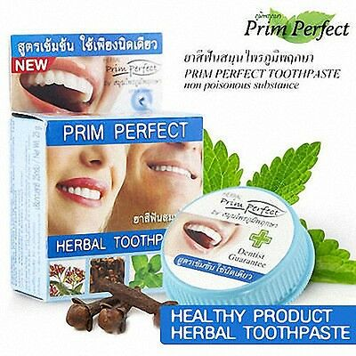 Prim Perfect Herbal Toothpaste Reduce Cigarette Coffee Fresh Breath 25g.