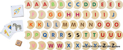 *NEW toy wooden ALPHABET LETTERS PUZZLE learning words EDUCATIONAL pictures TOY