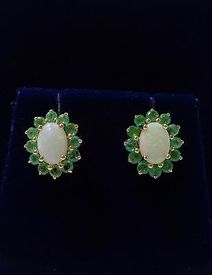 Emerald and Opal Cluster Stud Earrings in 9ct Yellow Gold