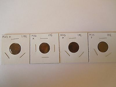 Germany Lot of 4 coins, 1 Pfennig 1923 A, 1932 A, 1933 A, 1935 F