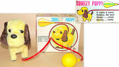 Squeezy Puppy Air Control Toy Dog Vintage Toy Iwaya Made In Japan + Original Box